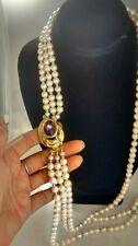 Vintage  Monet purple crystal faux pearl 3 strands gold  tone necklace