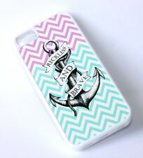 for iPhone 5C - Pink / Mint Green Anchor Hard TPU Rubber Gummy Fitted Skin Case