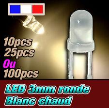 209D# LED 3mm blanc chaud diffusant ronde - dispo 10, 25 ou 100pcs - warm white