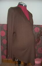 BNWT MATERNITY Asymmetric Brown Long Sleeved Wrap Top 16