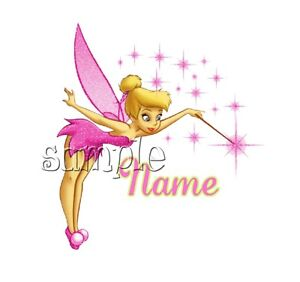 IRON on TRANSFER SMALL PERSONALISED (any name) pink tinkerbell 8x8cm