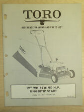 """TORO MOWER OPERATING PARTS MANUAL MODEL WHIRLWIND H.P. 19"""" NO. 18211 700001 & UP"""