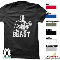 BEAST c363 T-Shirt Workout Gym BodyBuilding Weight Lifting Fitness Motivation