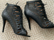 NINE WEST Angellica Black Leather Ankle Booties - UK Size 4, EU 37, 10cm Heel