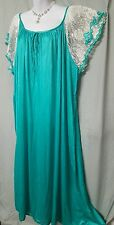 HOLIDAY GREEN WITH LACE SLEEVES  ANKLE LENGTH  NIGHTGOWN WOMENS SIZE 5X