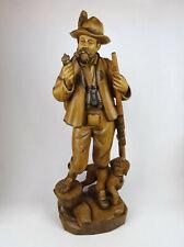 Holzfigur Jäger mit Hund 62cm, Holz geschnitzt süddeutsch