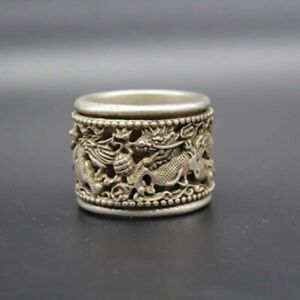 China Old Tibetan Silver Carving Finger Ring