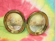 Vintage Homco® Home Interiors® Swans Pond Church Village Oval Gold Frame Plaques
