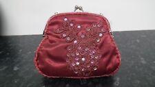 BN Burgandy Satin Small Handbag with Sequin Detail