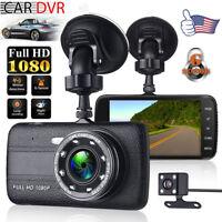 "4"" Vehicle 1080P HD Car DVR Camera Video Recorder Dash Cam G-Sensor Dual Lens"