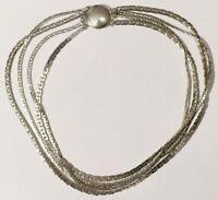 collier bijou vintage 4 rangs mailles déco chaine plate couleur argent * 3777