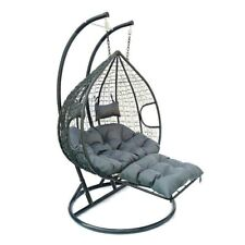 More details for hanging rattan swing patio garden chair weave egg w cushions footrest rain cover