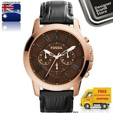 New Fossil Mens Watch Grant Rose Gold Tone Brown Dial Black Leather Strap FS4992