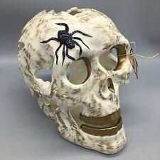 "Blue Sky Clayworks Skull Spider Gold Halloween Tealight Candle Holder Large 9"""