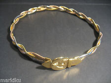 "New Rare Tri Gold tone plated braided metal belt buckle belt 24"" small waist"