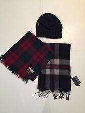 Unisex Winter Lot Nautica Navy beanie   2 Plaid Lambswool fringe scarves b6e6fa2662bc