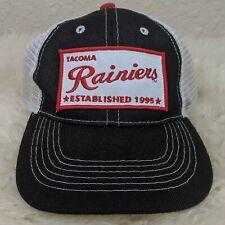 TACOMA RAINIERS MiLB Logo Patch Hat Strapback Mesh Cap Black White NEW