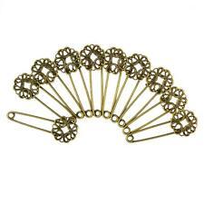 10pcs Vintage Blank Filigree Flower Base DIY Hijab Brooches Safety Pins