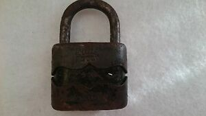 Padlock Antique System Dulv №35L No Key, Solid Cast Iron