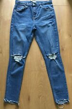 Topshop Moto Blue Jamie Ankle Grazer High Waist Skinny Ripped Jeans Women Sz 32