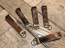 Schlüsselanhänger aus echtem Kuhfell schwarz/braun getigert 12,5cm x 2,5cm