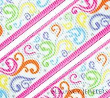 "High Quality 7/8"" Colorful Swirls Filigree Cheer Printed Grosgrain Ribbon"