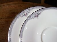 PAIR OF SILVERED HANDPAINTED SAUCERS ROYAL DOULTON JILLIAN H5193 1991 EXCELLENT
