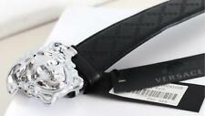 Authentic Versace Black Textured Leather Silver Medusa Buckle Belt