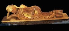 A RARITY! 12' RECLINING BUDDHA: DETAILED HAND-CARVED GOLDEN-TRIANGLE SANDALWOOD