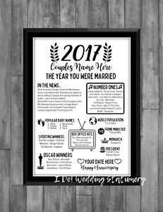 4th Wedding Anniversary 2017 Present Gift Poster Print Milestone Married