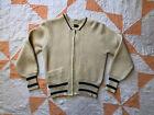 Vintage 30s 40s Knit Sweater Workwear Cardigan Jacket Lightning Curling 38 S/M
