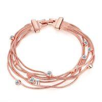 14K Rose Gold Plated Bracelet Made with Swarovski Crystals Snap Lock Clasp