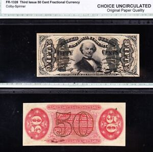 """Scarce CHOICE UNCIRCULATED """"SPINNER"""" 3rd Issue 50 cent Fractional! FREE SHIP!"""