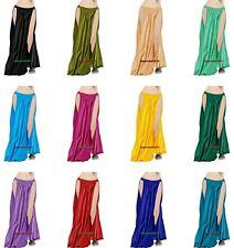 Women Lady Satin 2 Slit Panel Skirt Belly Dance Tribal Oriental 9 Yd Gypsy Jupe