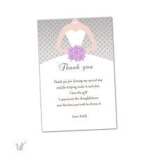 30 Bridal Shower Thank You Cards Lavender Silver Grey Dress Flowers