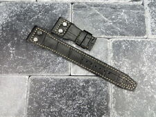 22mm IWC Black Gator Grain Leather Strap watch Band with Rivet BIG PILOT Beige