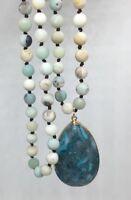 Fashion semi precious long knot matt amazonite stone Natural Pendant Necklace