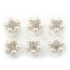 Bridal/ Wedding/ Prom/ Party Set Of 6 Rhodium Plated Crystal Simulated Pearl Flo