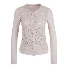 £289 MARC CAIN Women's Soft Macrane Front Lace Floral Cardigan Shell - Size 14