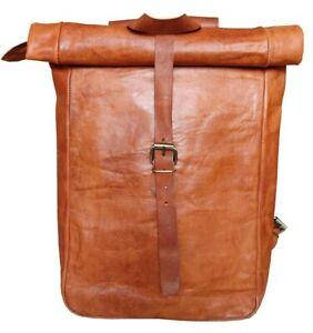 Rolltop Rucksack Vintage Leder Backpack Damen Herren Unisex City Bag Kurier Bag