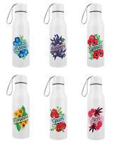 Weiß 500ml Edelstahl Wasser Trink Flasche mit Gift Blumen Design