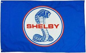 Flag - Blue Shelby Snake Mustang Logo * Worldwide Shipping! * Free to USA! GT500