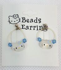 RARE Vintage 2000 Sanrio HELLO KITTY Blue BEADS Pierced EARRINGS Dangle NEW