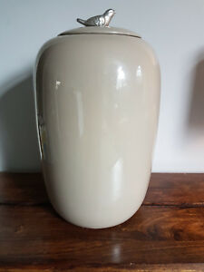 Large & Heavy Oriental Ceramic Jar with Silver Dove (Light Brown Asian Porcelain
