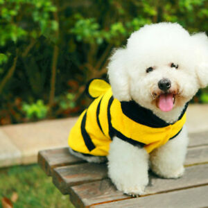 Cute Dog Clothes Lovely Cat Pet Harness Costume Apparel Hoodie Fleece Bumble Bee