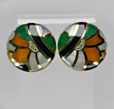 14 Karat Clip Back VintageDiamond  Earrings onyx ,pearl ,malachite ,tiger eye