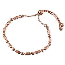 Rose Gold Sterling Silver Round/Oval Beads Chain Slider Bracelet Extendable Gift
