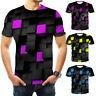 Men 3D Cube Print Short Sleeve Slim Fit T-Shirt Casual Top Basic Tee Plus Size