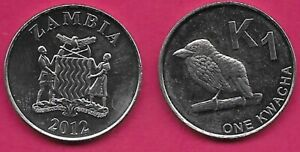 ZAMBIA 1 KWACHA 2012 UNC ZAMBIAN BARBET LEFT,NATIONAL ARMS WITH SUPPORTERS