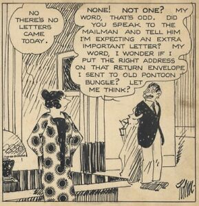 HARRY TUTHILL Original ART — Daily Comic Strip of THE BUNGLE FAMILY, 12-23-1929
